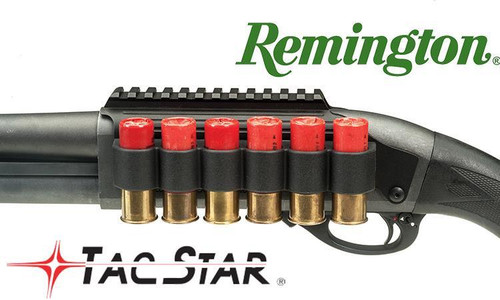 TACSTAR SHOTGUN SIDESADDLE RAIL MOUNT WITH INTEGRATED 6-SHELL HOLDER, REMINGTON MODELS #1081035