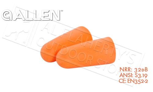 Allen Silencer Foam Ear Plugs, 32dB NRR #2341x