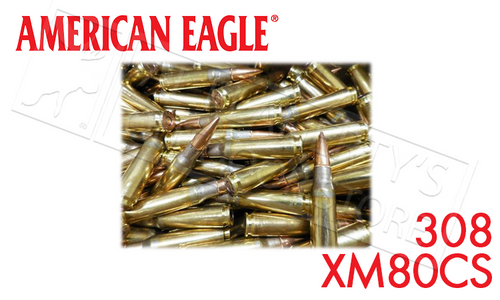 American Eagle 308/7.62 NATO Ammunition 500 Rounds, FMJ, 149 Grains #XM80CS