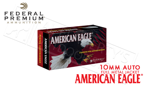 Federal American Eagle 10mm Auto, FMJ 180 Grain Box of 50 #AE10A
