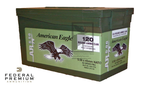 Federal American Eagle 5.56x45 NATO XM855, FMJ 62 Grain Box of 120 #XM855LPC120