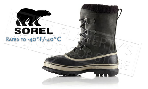 SOREL CARIBOU BOOT - BLACK, TUSK - MEN'S #NM1000014
