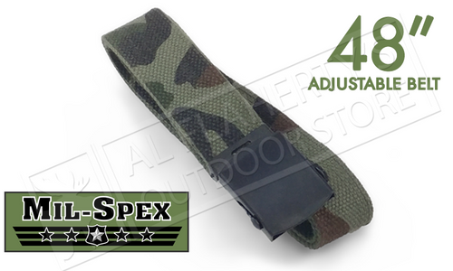 """MIL-SPEX MILITARY STYLE CANVAS BELTS WITH SLIDING BUCKLE, CAMO 48"""" #3170-CAM"""