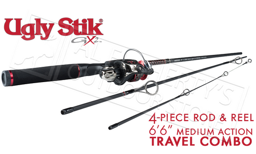 UGLY STIK GX2 TRAVEL SPINNING COMBO, 4-PIECE MEDIUM ACTION