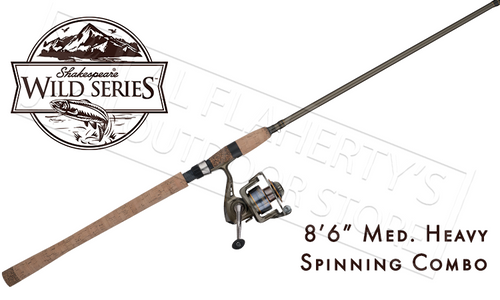"SHAKESPEARE WILD SERIES SALMONSTEELHEAD SPINNING COMBO, 8'6"" MEDIUM HEAVY"