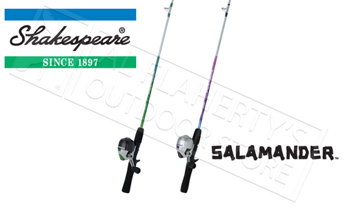 """SHAKESPEARE SALAMANDER YOUTH SPINCAST COMBOS, 4'6"""" ROD, PINK OR GREEN"""