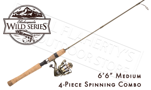 """SHAKESPEARE WILD SERIES PACK ROD SPINNING COMBO, 6'6"""" 4-PIECE WITH CARRY CASE"""