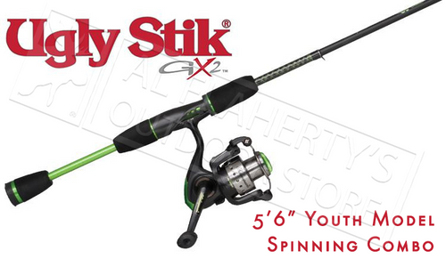 "UGLY STIK GX2 SPINNING YOUTH COMBO, 5'6"" ROD"