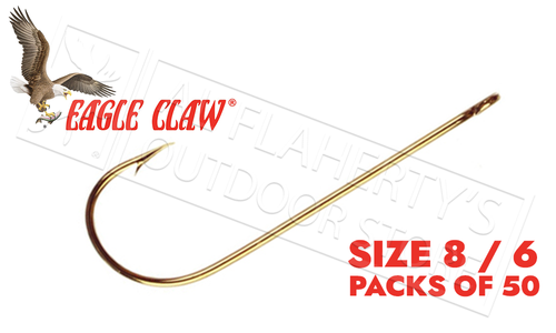 Eagle Claw Aberdeen Hooks, Ringed Eye Extra-Light Wire, Pack of 50 #214EL