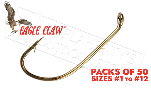 Eagle Claw Baitholder Bronze Hooks, Down Eye, Packs of 50, Sizes 12 to 1 #181FS