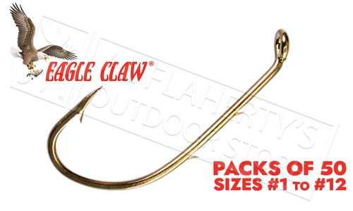Eagle Claw Baitholder Bronze Hooks, Down Eye, Packs of 50, Sizes 12 to 1 #181FS
