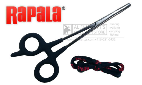 "RAPALA FISHING FORCEPS, 7-1/2"" STAINLESS STEEL WITH LANYARD"
