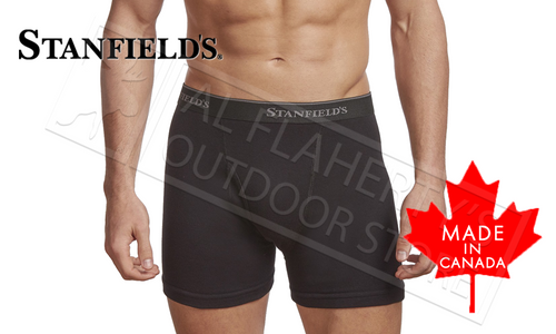 STANFIELD'S MENS BOXER BRIEFS - PREMIUM 100% COTTON BLACK VARIOUS SIZES, PACK OF 2 #2516