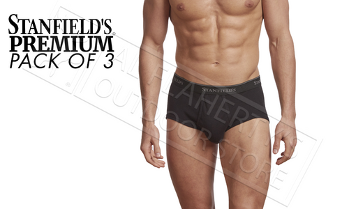 STANFIELD'S MENS BRIEFS - PREMIUM 100% COTTON BLACK VARIOUS SIZES, PACK OF 3 #2503