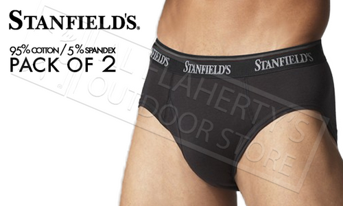STANFIELD'S STRETCH BRIEFS 2-PACK, BLACK M-XL #9532