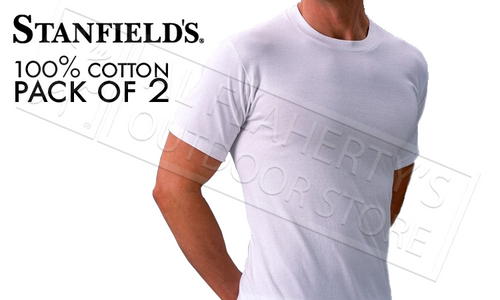 STANFIELD'S CREW NECK T-SHIRTS 2-PACK, WHITE M-XL #9524