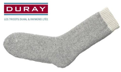 DURAY ULTIMATE THERMAL WOOL SOCK, NATURAL GREY, SIZE LARGE #1155OTC