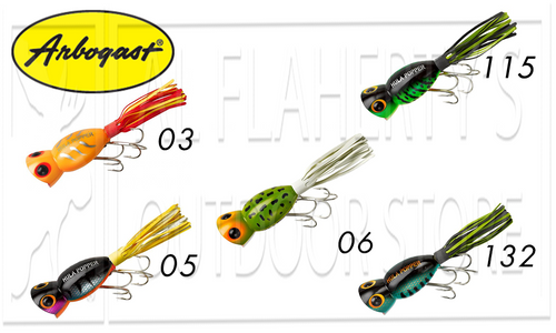 ARBOGAST HULA POPPERS, 5/8 OZ. VARIOUS PATTERNS