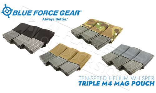 Blue Force Gear Ten-Speed Helium Whisper Triple M4 Mag Pouch #HW-TSP-M4-3