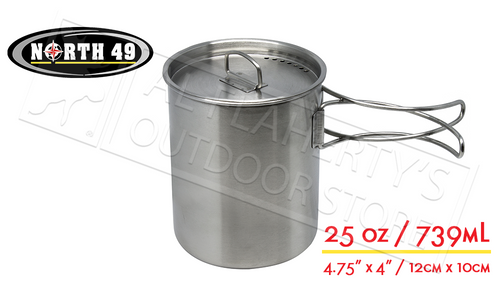NORTH 49 STAINLESS STEEL POT-CUP WITH LID, 25OZ / 739ML #691