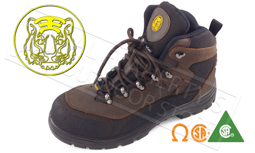 "TIGER CSA SAFETY BOOT 6"" BROWN SIZES 8-12 #3031"