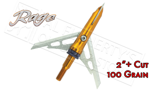 "RAGE SLIPCAM CROSSBOW X-BLADE MECHANICAL BROADHEADS, 2""+ CUT 100 GRAIN PACK OF 3"