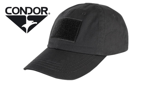 CONDOR TC TACTICAL CAP - BLACK OR TAN WITH PATCH PANELS