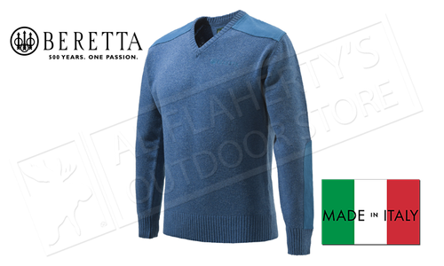Beretta Classic V-Neck Sweater in Avio Blue, L-XL #PU451T1194