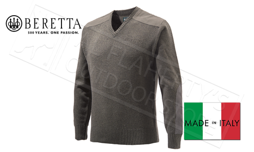 Beretta Classic V-Neck Sweater in Avio Brown, M-XL #PU451T1194
