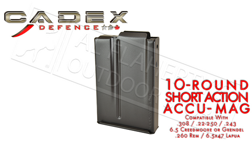 CADEX SHORT ACTION AICS ACCU-MAG MAGAZINE, .308 10-ROUND #MAG100-0040