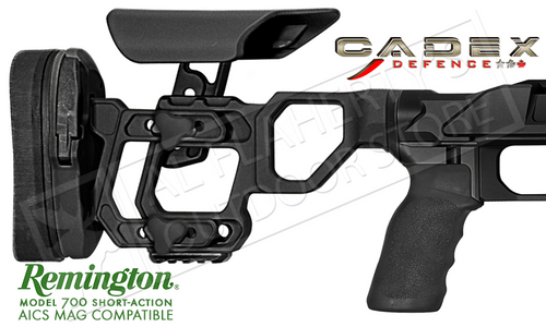 CADEX FIELD TACTICAL CHASSIS, COMPATIBLE WITH REMINGTON 700 SHORT ACTION USING AICS MAGAZINES, 20 MOA RAIL #STKFT-REM-RH-SA-B