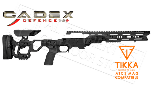 CADEX FIELD TACTICAL CHASSIS, COMPATIBLE WITH TIKKA T3 SHORT ACTION USING AICS MAGAZINES, 20 MOA RAIL #STKFT-TIK-RH-SA