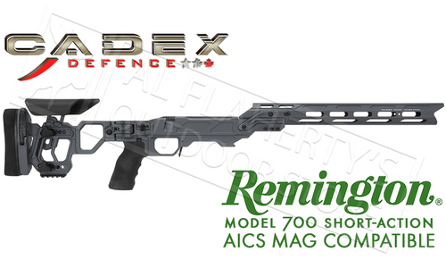 CADEX LITE COMPETITION CHASSIS, COMPATIBLE WITH REMINGTON 700 SHORT ACTION USING AICS MAGAZINES #STKLCP-REM-RH-SA-GRY