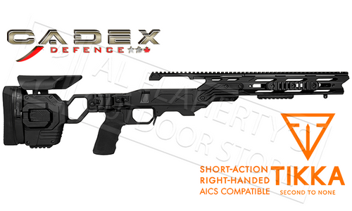 Cadex Defence Lite Strike Chassis for Tikka T3/X Short Action Rifles, Accu-Mag System with 20MOA Top Rail #STLK-TIK-RH-SA