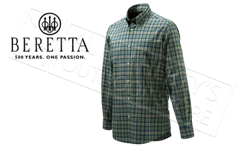 Beretta Drip Dry Shirt, Long Sleeve, Ecru Check Pattern, L-XL #LU210T0707011F