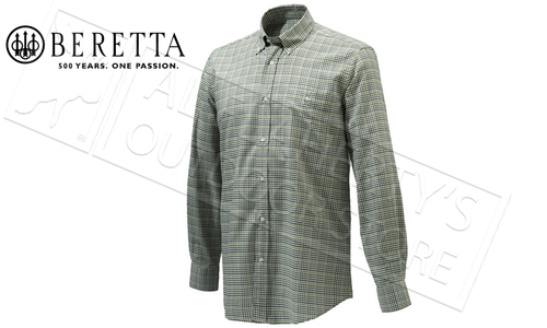 Beretta Elm BD Classic Shirt in Light Green Check, Sizes 42-44 Italian #LU531T1426073N