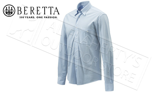 Beretta Elm Classic Country Shirt in Light Blue, Sizes 42-46 Italian #LU651T1323