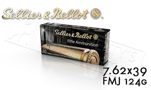 SELLIER & BELLOT 7.62X39 FMJ TARGET AMMUNITION, 124 GRAIN BOX OF 20