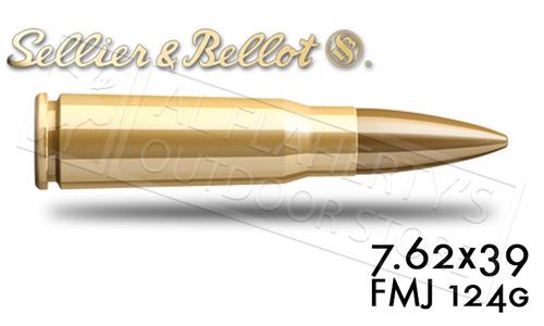 SELLIER & BELLOT 7.62X39 FMJ TARGET AMMUNITION, 124 GRAIN BOX OF 20