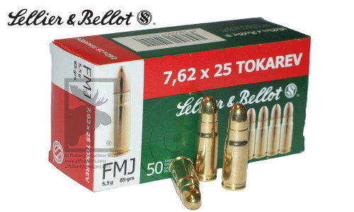 SELLIER & BELLOT 7.62X25 FMJ, 85 GRAIN BOX OF 50