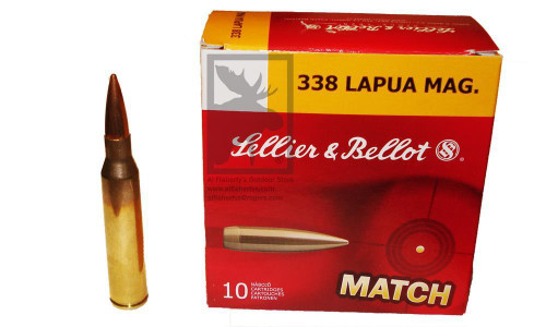 SELLIER & BELLOT .338 LAPUA MAGNUM MATCH, HPBT 250 GRAIN BOX OF 10