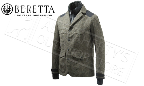 Beretta Walnut 3L Tech Wool Jacket in Green Herringbone, Sizes 50-56 Italian #GU273T1409077U
