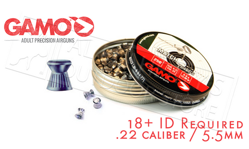 GAMO MATCH PELLETS .22, 15.43 GRAIN TIN OF 250