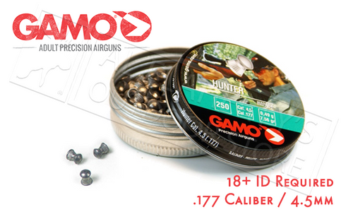 GAMO HUNTER KNOCKDOWN POWER PELLETS .177, 7.6 GRAIN DOME TIP TIN OF 250