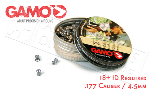 GAMO MASTER POINT PELLETS .177, 7.9 GRAIN POINTED TIP TIN OF 250