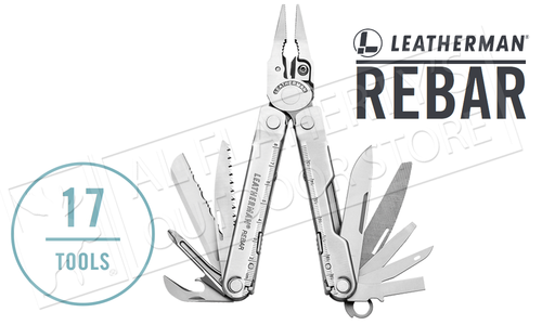 Leatherman Rebar Multi-Tool - Stainless with Leather Sheath #831560