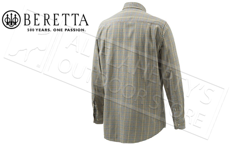 Beretta Sport Classic Button Down Shirt in Beige Check, Medium to 2XL #LUA10T0706010N