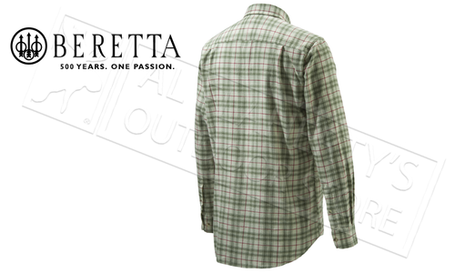 Beretta Sport Classic Button Down Shirt, Beige and Green Check, L-XXL #LUA10T0706014E
