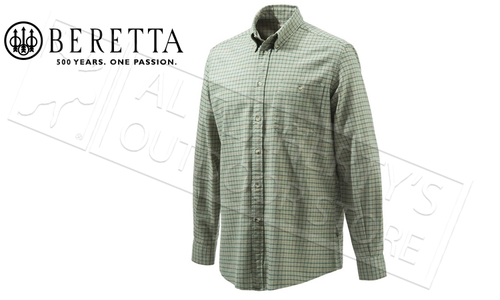 Beretta Sport Classic Button Down Shirt in Green Check, Large to XL #LUA10T07060759