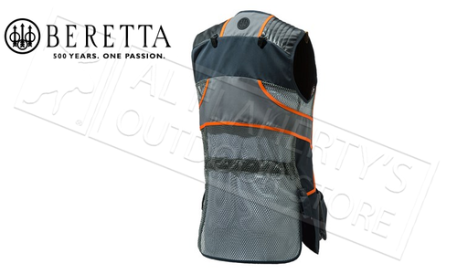 Beretta Sporting Vest in Black and Orange, Sizes M-4XL #GT691021130945